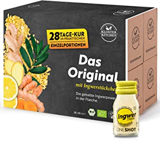 Kloster Kitchen JengibreTRINK Shot - Premiados shots de jengibre, 28 botellas de vidrio de 30 ml, con trozos de jengibre o...