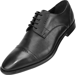 Asher Green Genuine Italian Leather Men's Dress Shoes with Perforated Cap Toe and Lace-Up Enclosure Style AG4732