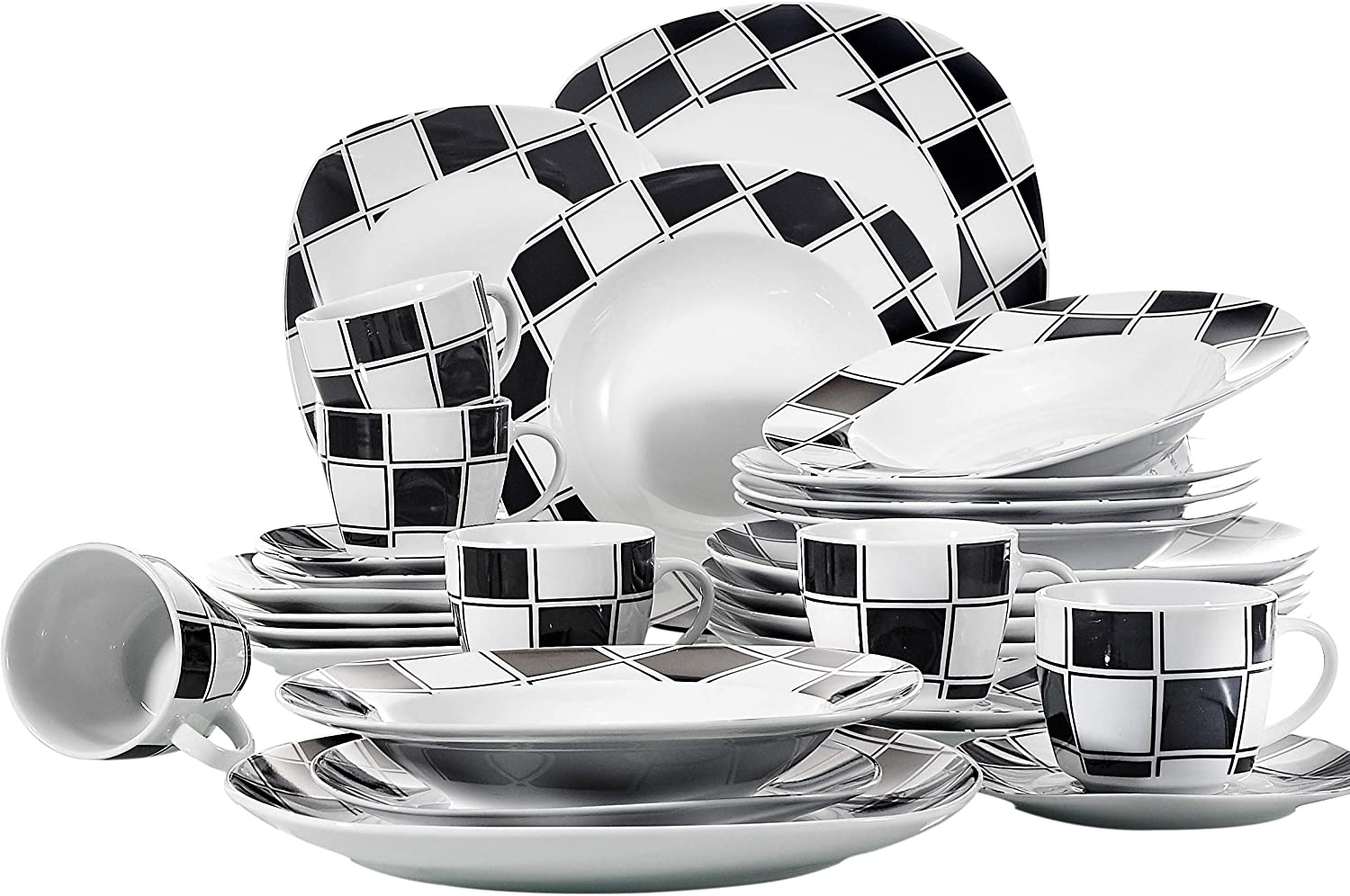 VEWEET 30-Piece Ceramic Tableware Black Grids Patterns Kitchen Porcelain Sets Dinner, Soup, Dessert Plate, Saucer and Mug, Nicole