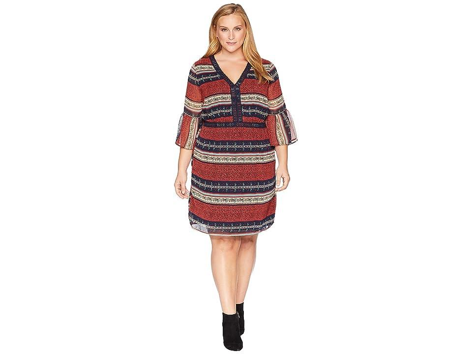 KARI LYN Plus Size Royce V-Neck Dress (Navy/Rust) Women