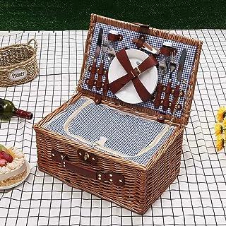 Panier Pique-nique Convient Pour 2 Personnes Panier Pique-nique En Osier Camping En Plein Air Boîte à Lunch Ensemble Sac D...
