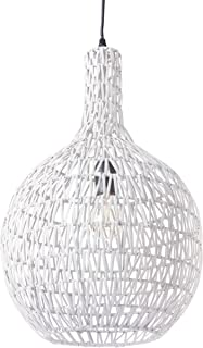 Lussiol 250276 - Lámpara de techo (mimbre, 60 W, 33 x 54 cm), color blanco