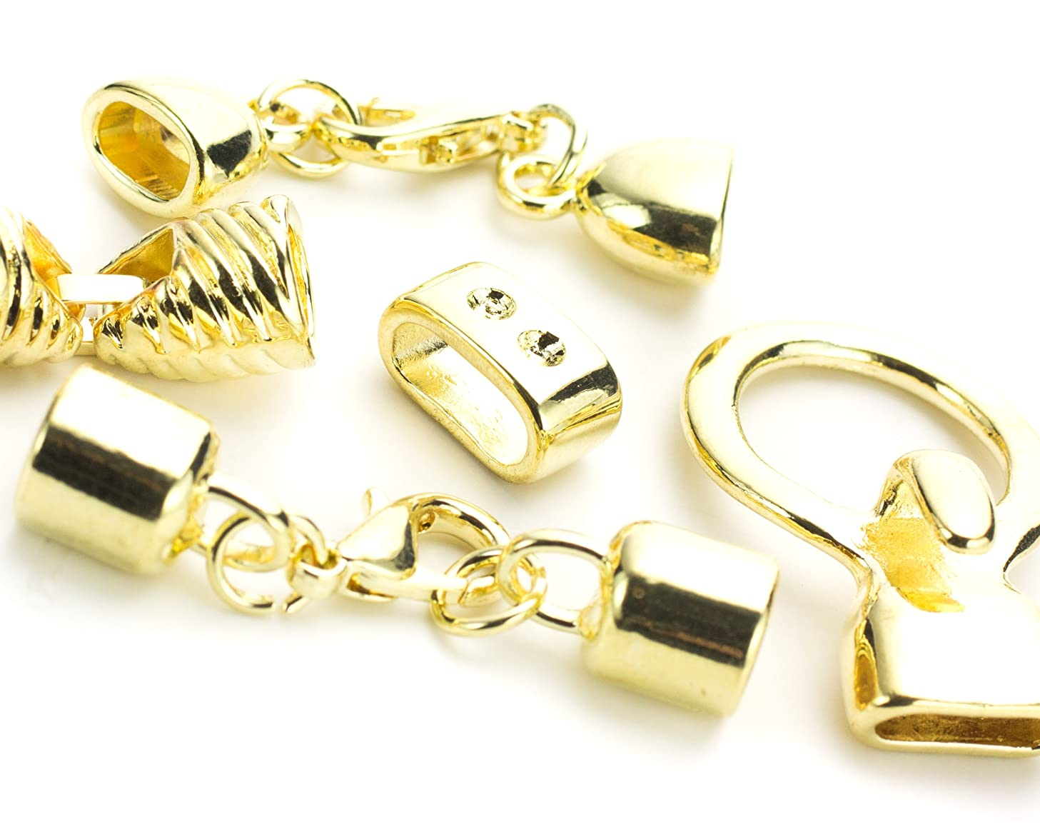 Assorted Gold Metal Cord Ends - 4 Sets