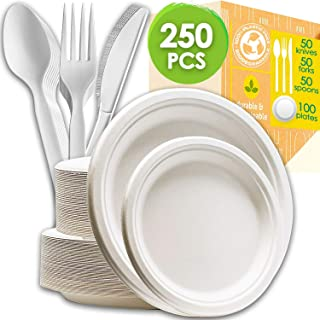 TECVINCI 250 Count Disposable Dinnerware Set Tableware Set, Biodegradable Compostable Sugarcane Paper Plates and Cornstarch Cutlery Knives, Spoons and Forks for BBQ, Party, Picnic, Camping (White)