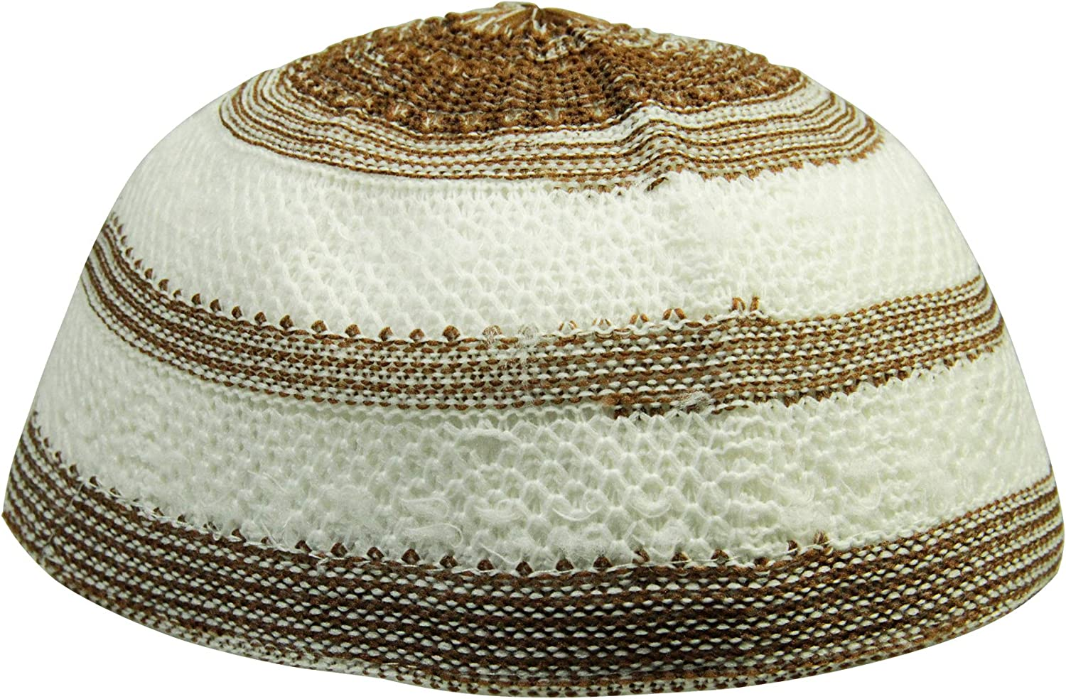 Fort Worth Mall Hijaz Brown and White Stretchable Raleigh Mall Knit Skull Top Kufi Cap Beanie