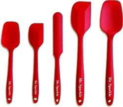 Mr Sparkle Silicone Spatula Set with Heat Resistant Pastry Tools Spatula Eco-Friendly Certified FDA & EU LFGB - Red