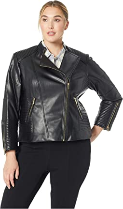 Plus Size Faux Leather Jacket w/ Seaming