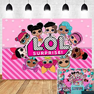 Sweet Pink Doll Girl Toy Photography Backdrop Kids Birthday Surprise Party Banner Supplies Vinyl 7x5ft Hot Pink Polka Dot Stripe Photo Background Newborn Baby Shower Candy Table Decoration Photo Booth