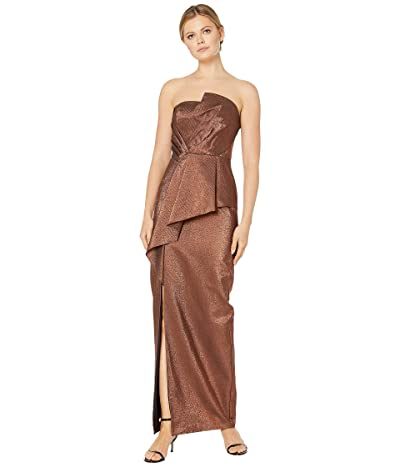 Adrianna Papell Stretch Lame Strapless Gown (Copper) Women