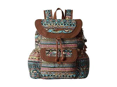 Sakroots Sakroots Artist Circle Flap Backpack (Aqua One World) Backpack Bags