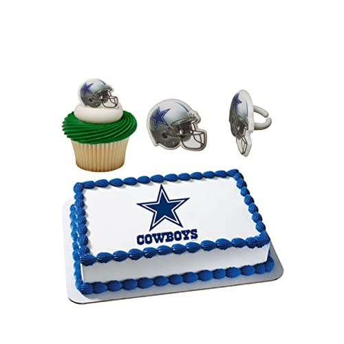 Dallas Cowboys Licensed Edible Wafer Cake Topper Cupcake Ring Combo