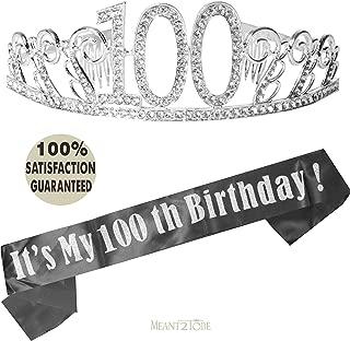 100th Birthday Tiara and Sash, Happy 100th Birthday Party Supplies, 100 It's My 100th Birthday Black Glitter Satin Sash and Crystal Tiara Birthday Crown