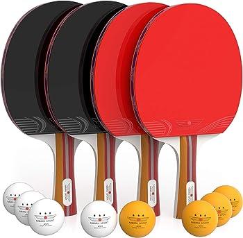 NIBIRU SPORT Ping Pong Paddle Set (4-Player Bundle)