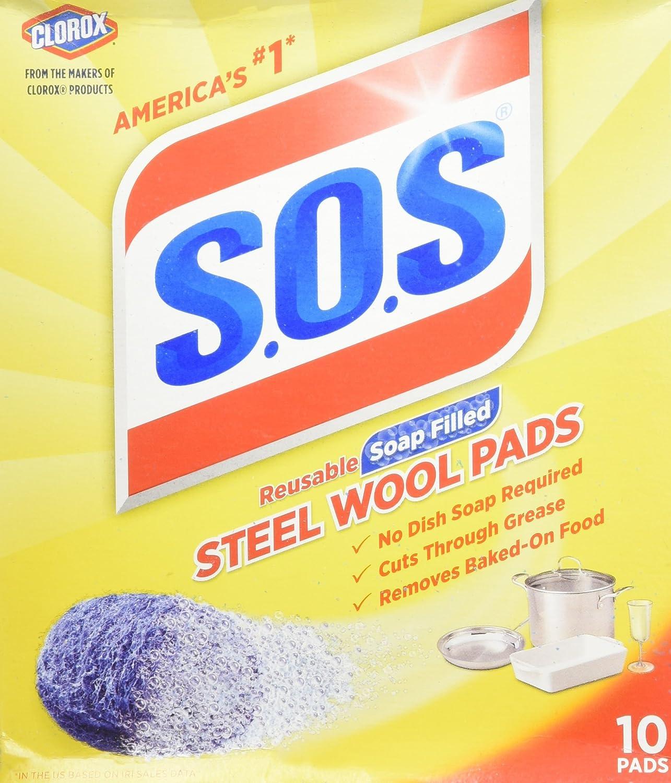 S.O.S Steel Wool Soap Pads (2 Packs of 10, total 20) : Health & Household