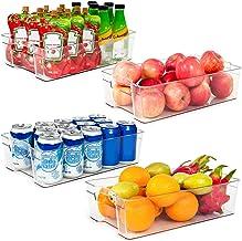 Refrigerator Organizer Bins, Vtopmart 4 Pack Large Clear Plastic Food Storage Bin with..