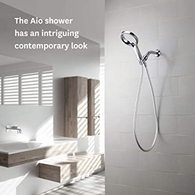 Methven Aio Handheld Shower Head Set, High Pressure Hand Held Showerhead with Hose and Adjustable Arm Mount, (Chrome)
