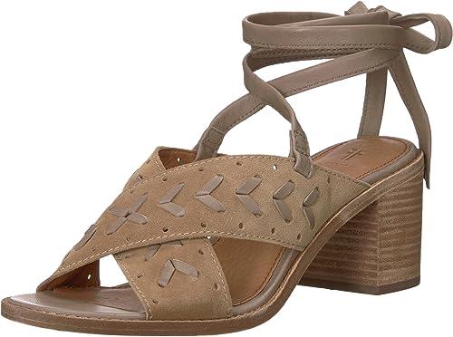 FRYE damen& 039;s Weiß Woven Perf Ankle Strap Heeled Sandal, Beige, 6 M US