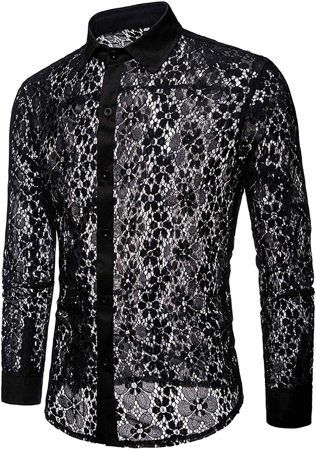 Mens Mesh Shirts Long Sleeve See Through Flower Button Down Sweatshirts Style Fishnet Hollow Lace