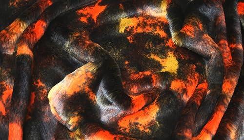 SUPER LUXUS Kunstfell Stoff Material - Orange FANTASIE - Orange, 10Mtrs 1000cm x 150cm