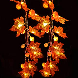 Thanksgiving Decoration 10 ft 30 LED Pumpkin Maple Leaf Garland String Lights for Halloween Thanksgiving Fall Decoration S...
