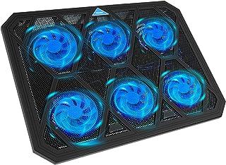 TECKNET Refroidisseur PC Portable avec 6 Ventilateurs Silencieux, Volume d'air Réglable, Hauteur Réglage, Ultra Rapide Coo...