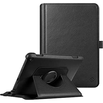 Fintie Case for All-New Amazon Fire HD 8 and Fire HD 8 Plus Tablet (10th Generation, 2020 Release) - 360 Degree Rotating Swivel Stand Protective Cover with Dual Auto Sleep Wake, Black