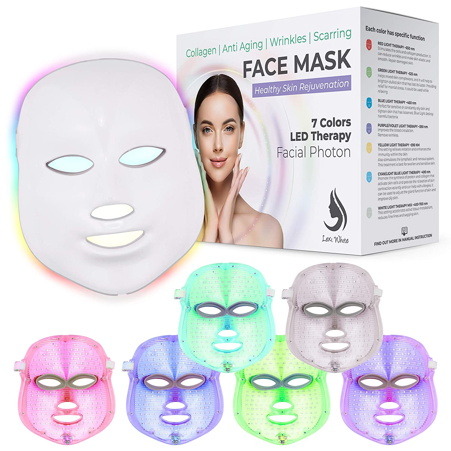 Red Light Therapy LED Face In stock 7 Color Mask Facia Daily bargain sale