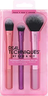 Real Techniques Cruelty Free Travel Essentials Set With Ultra Plush Custom Cut Synthetic Bristles, Includes: Essential Foundation, Multi Task and Domed Shadow Brushes