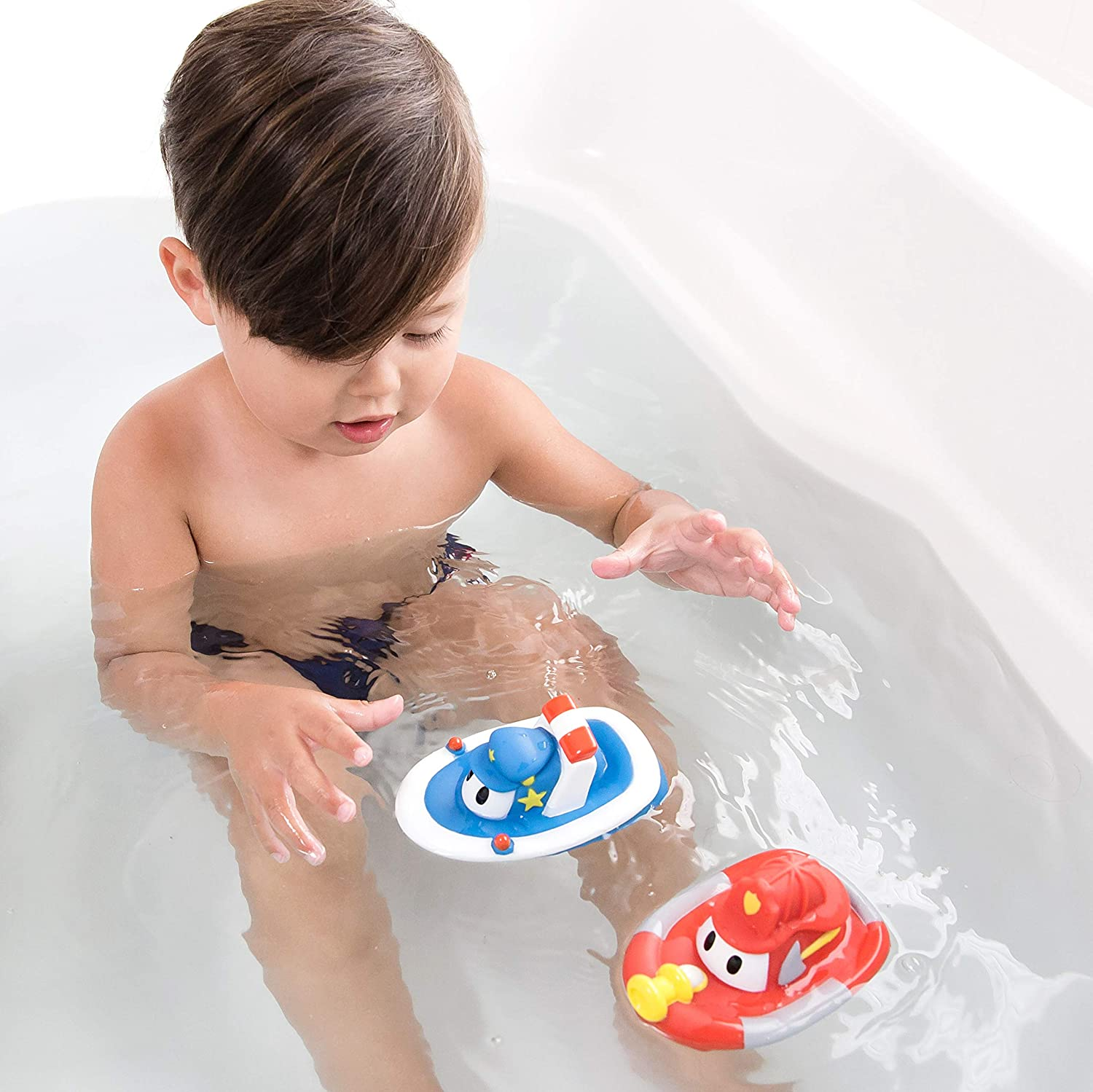 Nuby 2-Pack Tub Sales for sale Tugs Floating Boat Bath Toys Vary Colors Sale May