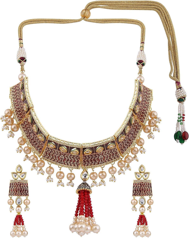 Efulgenz Indian Traditional Bollywood Kundan Pearl Bridal Choker Necklace Earrings Wedding Jewelry Set