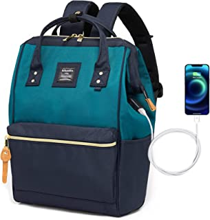 Bebowden Laptop Backpack for Women Men School Business Travel Work Bag With USB Charging Port Fits 14 Inch Laptop Green&Navy