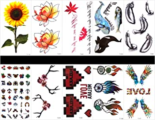 Interookie 10pcs fake tattoo stickers feather temporary tattoos in one packages,mixed designs as cute cartoon,rose,wreath,wings,sunflower,lotus,fish,whale,feather,etc.