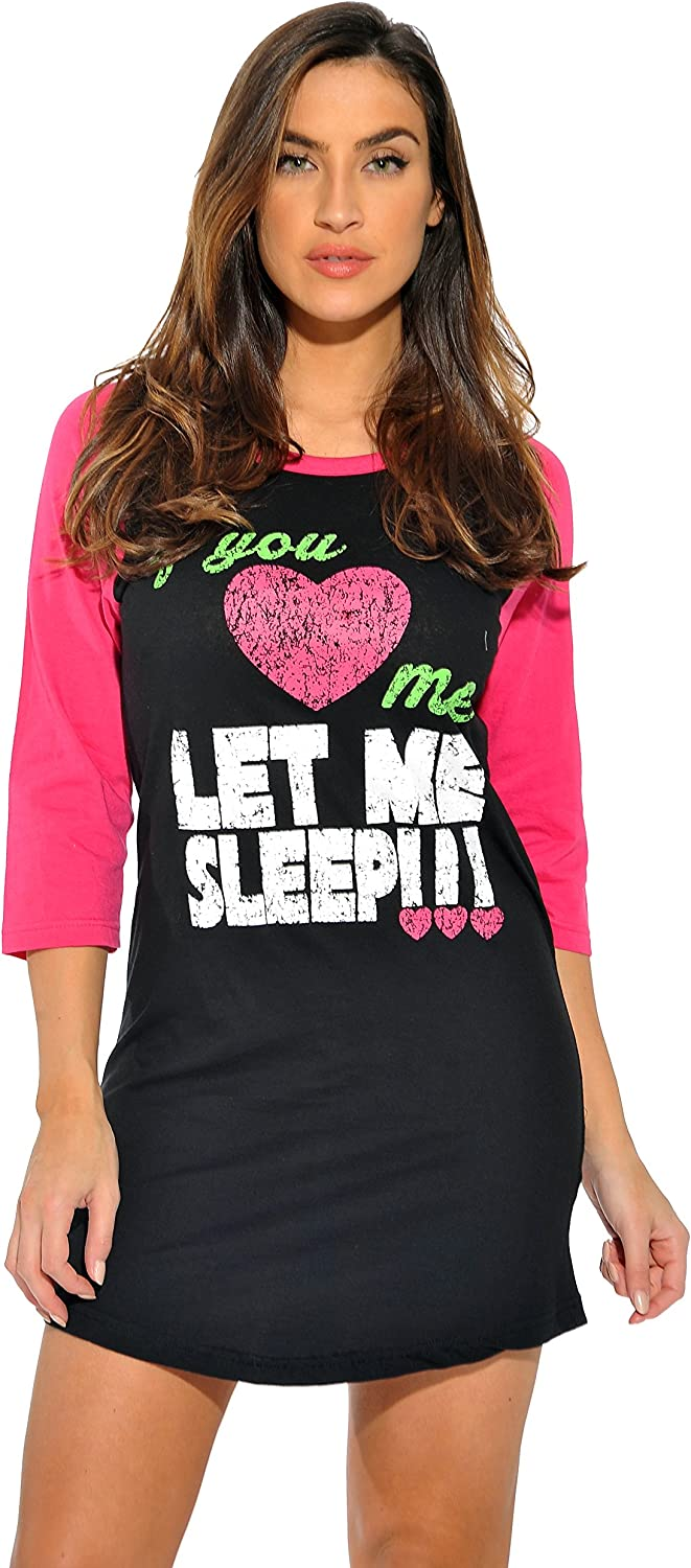 Just Love 100% Cotton Sleep Dress Baseball Indianapolis Mall for Women Nigh Direct stock discount Sleeve