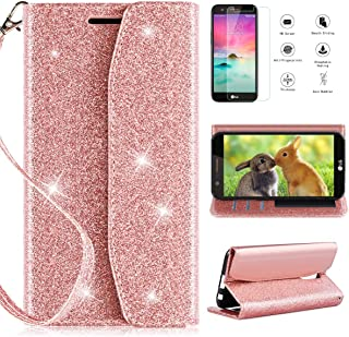 LG K20 V K20V Wallet Case, LG K20 Plus/LG K20/LG Harmony/LG K10 2017 Phone Wallet Case with HD Screen Protector,CaseRoo [Kickstand] [Wrist Strap] 2 in 1 Glitter Cover for with Cosmetic Mirror-Rosegold