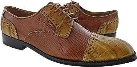Dolce Pelle - Men's Cognac Genuine Real Honey Lizard Crocodile Skin Dress Shoe