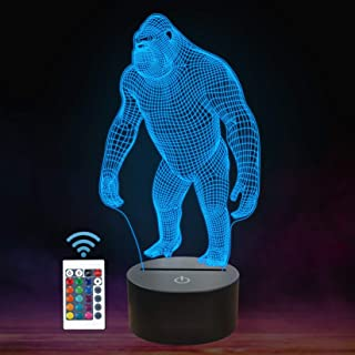 Gorilla 3D Night Light, FULLOSUN Monkey LED Illusion Hologram Lamp 16 Colors Changing with Remote Control, Kids' Bedroom H...