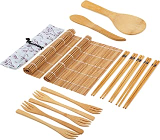 Sushi Making Kit,Including 2 Pieces Sushi Rolling Mats,5 Pairs Bamboo Chopsticks,1 Pieces Rice Paddle,1 Pieces Storage Bag,1 Pieces Rice Spreader,5 Pieces Bamboo Forks, Beginner Sushi Maker