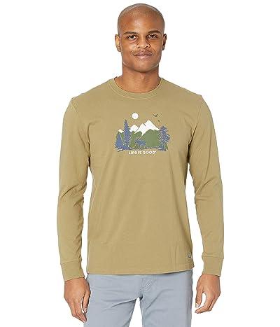 Life is Good Majestic Moose Long Sleeve Crushertm Tee (Fatigue Green) Men