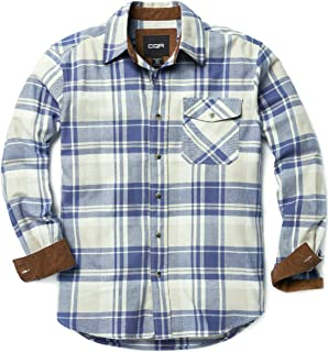 Men's Flannel Long Sleeved Button-Up Plaid All-Cotton...
