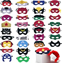 TEEHOME Superhero Masks Party Favors for Kid (33 Packs) Felt and Elastic - Superheroes Birthday Party Masks with 33 Different Types Perfect for Children