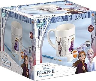 Frozen II La Reine des neiges Kit Tasse à Peindre avec 1 Pinceau et 5 Petits Pots de Peinture