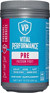 Low Sugar PreWorkout Powder - Vital Performance Passionfruit - NSF for Sport Certified, 140mg Caffeine, No Artificial Swee...