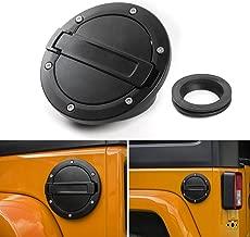 JeCar Gas Cap Cover Fuel Filler Cover Exterior Accessories with Aluminum for Jeep Wrangler JK & Unlimited 2007-2017 Sport Rubicon Sahara (No Logol)