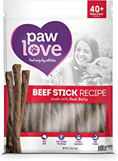 PawLove Dog Treats Quick and Crunchy Beef Stick Recipe Dog Snacks – Light and Airy Chew – Rich in Delicious Beef Flavor – Healthy Grain Free, High Protein Chew - Small and Large Dog Sizes
