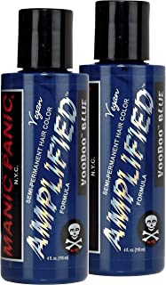 "Manic Panic Amplified Semi-Permanent Hair Color Cream - Voodoo Blue 4oz""Pack of 2"""