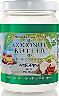 Organic Coconut Butter 2 Pack 17.6 oz each Stone Ground Pureed w/E-Book of Organic Gourmet Keto Paleo Friendly Recipes