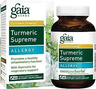 Gaia Herbs, Turmeric Supreme Allergy, Turmeric Curcumin Supplement for Seasonal Allergy Support, Non-Drowsy Formula, Vegan Liquid Capsules, 60 Count