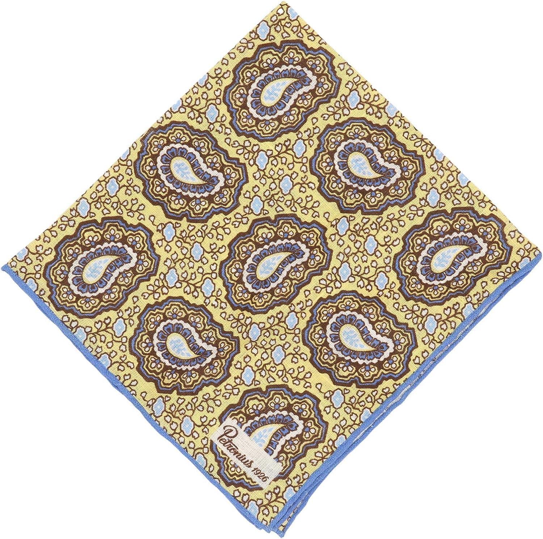 Petronius 1926 Men's Linen Paisley Pocket Square