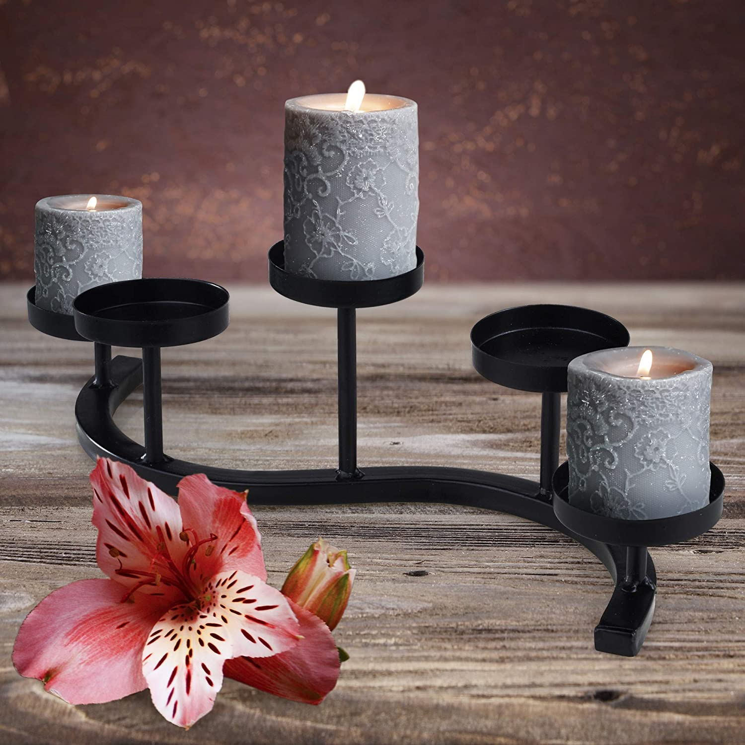 Wrought Iron Candle Holder Black 5 In stock Hand-Forged Wave Candelabra Inexpensive