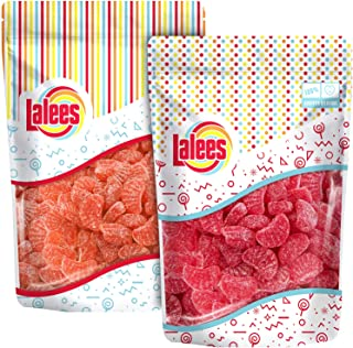 Lalees Cherry Slice Candy and Orange Slices Candy - Bulk Candy - 2 Pack of 1 Pound Each - Fruit Slices Wedges Candy